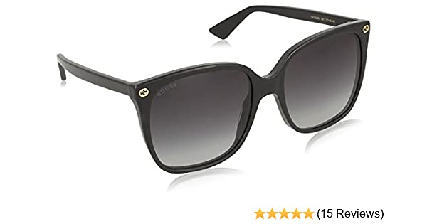 f97409093568b Amazon.com  Gucci GG0022S Sunglasses 001 Black   Grey Gradient Lens 57 mm   Clothing