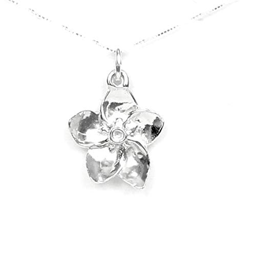 Forget-Me-Not Flower Necklace Sterling Silver - Gift Boxed with Endearing Goodbye Story Card -Made in USA - 20