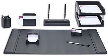 10 Piece Leather Desk Pad Set (Black Leather) 31DGljvt1rL