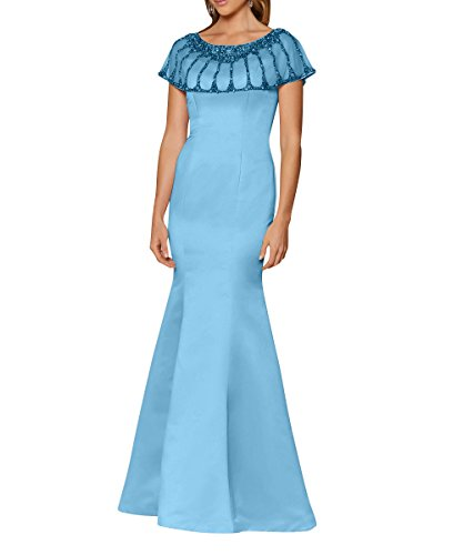 Jugendweihe Meerjungfrau Etuikleider La Pailletten Kleider mia Partykleider Satin Blau Abendkleider Promkleider Brau mit Elegant xwtcatFv0q