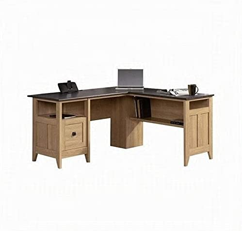 Pemberly Row Home Office L-Shaped Computer Desk with Drawer in Dover Oak