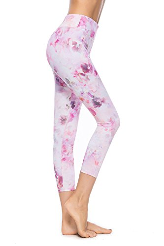 SOUTEAM Women Printed Pattern Leggings Teens Youths High Waist Pocket Capri Pants, Pink Flower, XL