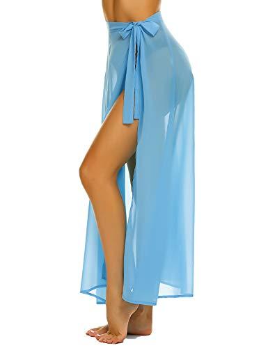 MAXMODA Women Bikini Skirts Cover Up Swimwear Sheer Beach Maxi Long Skirt Summer Wrap Ladies Beach Skirt Sky Blue