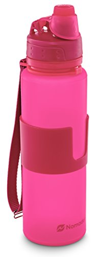 Nomader BPA Free Collapsible Sports Water Bottle - Foldable with Reusable Leak Proof Twist Cap for Gym Travel Hiking Camping and Outdoors - 22 Ounce (Pink)