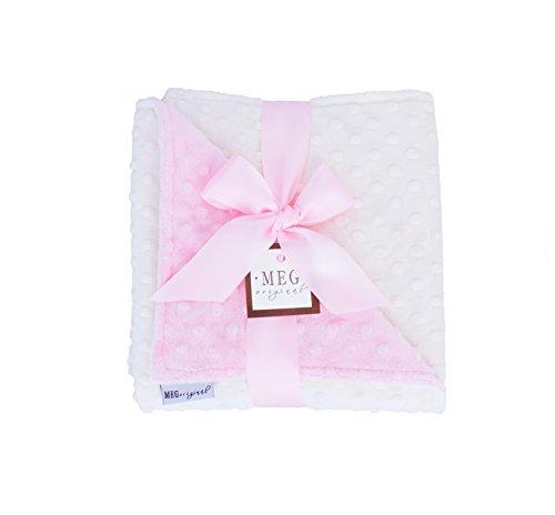 MEG Original Pink & Ivory Minky Dot Baby Girl Blanket,