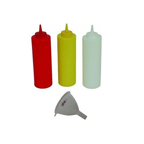 Viva-Haushaltswaren - 3 Quetschflaschen 0,7L für Ketchup Senf Mayonnaise