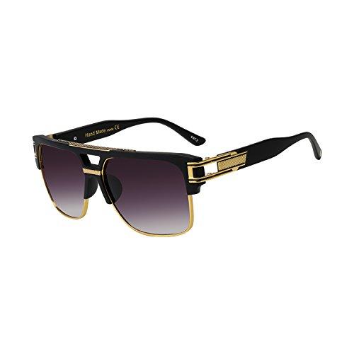 - ROYAL GIRL Vintage Aviator Sunglasses Men Oversize Square Designer Fashion Shades(matte black gray, 68)