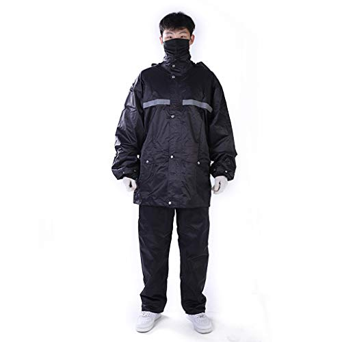 Raincoat Reflective Split Rain Pants Suit Windproof Waterproof Rainproof Breathable Thickening Single Cap Riding Work Motorcycle Fishing Outdoor Unisex 2 Color MUMUJIN (Color : Navy, Size : - 169 Universal Single
