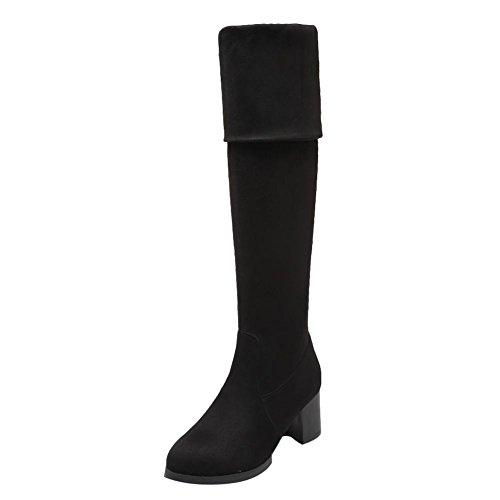 Mee Shoes Damen chunky heels langschaft runde Stiefel Schwarz
