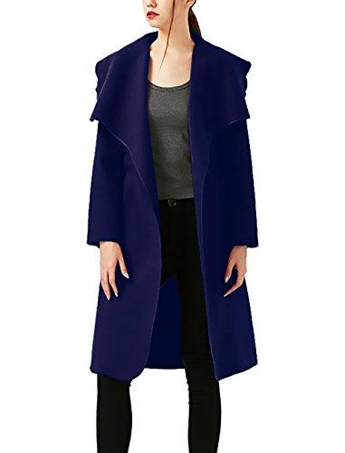 Parkas Mujer Invierno Tallas Grandes Baratas Largas Abrigos Otoño Elegante Rompevientos Manga Larga De Solapa Gabardina De Paño Suelto Casual Clásico Cortavientos Ropa De Coat Outcoat Trench Azul