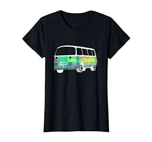 Womens Vintage Hippie Bus Shirt - 60s & 70s Flower Power T-Shirt Medium Black