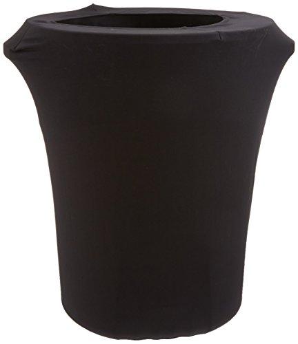 LA Linen Stretch Spandex Trash Can Cover 44-Gallon Round,Bla