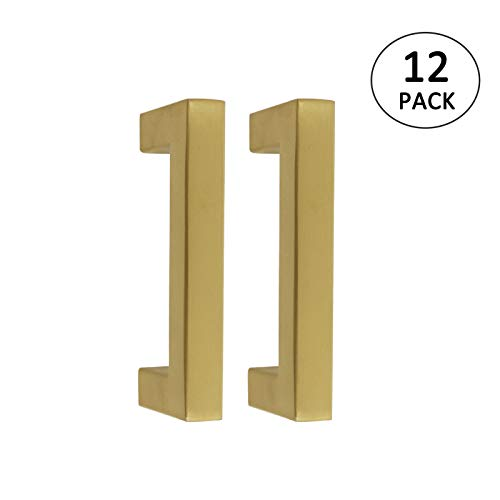 Goldentimehardware Brushed Brass Square Kitchen Cabinet Handles Gold Dresser Drawer Pulls Door Handle 3in/76mm Hole Centers, 3 2/5in Overall Length - 12Pack