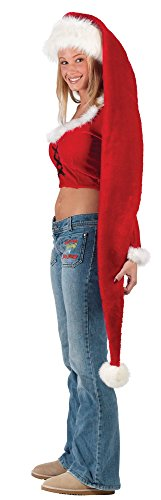 Long Santa (Fun World Costumes Women's Adult Long Santa Hat, Red/White, One Size)