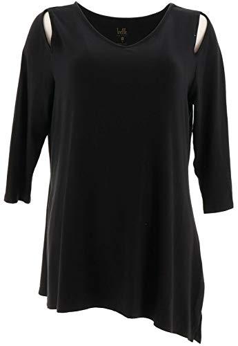 Belle Kim Gravel Knit Top Asymmetrical Hem Black M New A307422 from Belle by Kim Gravel