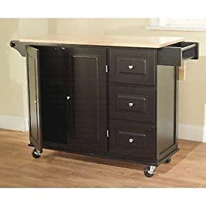 Amazon Com Mhwk5 Black Wooden Kitchen Cart Wheel Storage