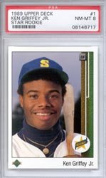 1989 Ken Griffey Jr. Upper Deck Baseball MLB Rookie Cards - Professionally Graded a PSA 8