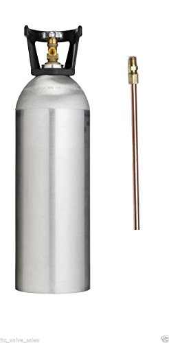 20 LB CO2 ALUMINUM CYLINDER TANK NEW WITH DIP TUBE - SHERWOOD CGA 320 VALVE, CARRY HANDLE (HOMEBREW BEER KEG HYDROPONICS)