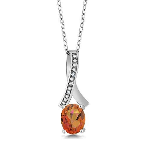 Gem Stone King 1.84 Ct Twilight Orange Mystic Quartz White Diamond 925 Sterling Silver Pendant