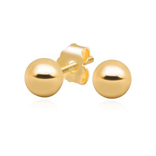 14k Yellow Gold Plated 925 Sterling Silver Plain Smooth Round Bead Ball Stud Earrings, 4mm ()