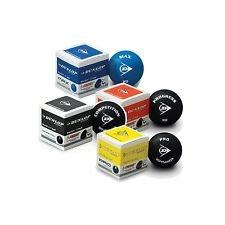 Dunlop Squash Balles 3 / 6 / 12 Jaune Emballage 1 ou 2 Points Rouge et Bleu