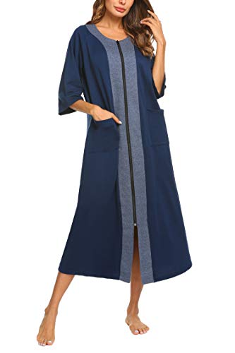 (Ekouaer Plus Size Nightgown Robe Women's Long Loose Fit Sleepshirt O Neck Short Sleeve Loungewear(Navy)
