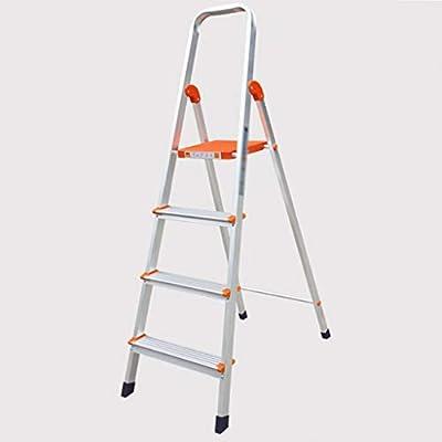LINrxl Escalera para taburetes de 3/4 Pasos Antideslizante Plegable portátil con Capacidad de Goma para empuñadura 330lbs, escaleras de Tijera de Plata para el hogar (Size : Four Steps): Amazon.es: Hogar