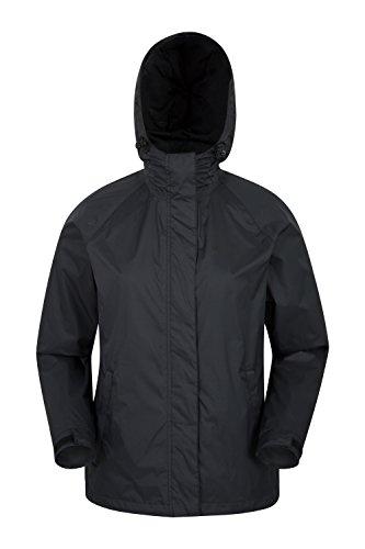 Mountain Warehouse Giacca Da Donna Torrent - Impermeabile, Cappotto Leggero, Cuciture Completamente Nastrate, Con 2 Tasche Zip Viaggi, Campeggio Nero
