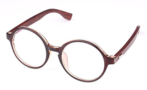 Agstum Retro Round Optical Handmade Glasses Wood Frame Clear lens (Brown, - Men Fashionable For Glasses