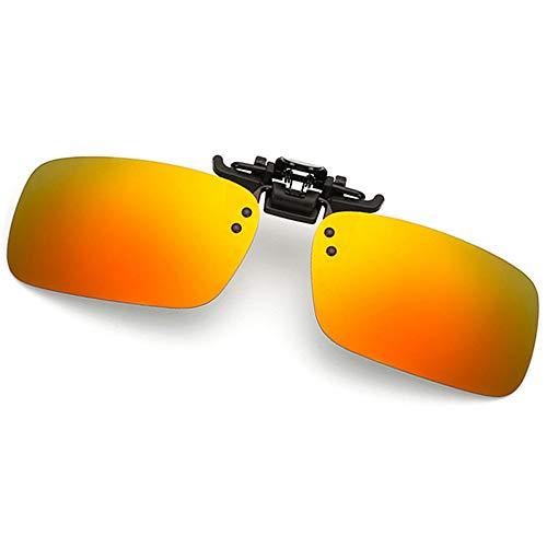 Clip-on Sunglasses Polarized Lens Unisex Frameless With Metal Flip Up For Driving, Outdoor Sports & Holidays (ORANGE-RED)