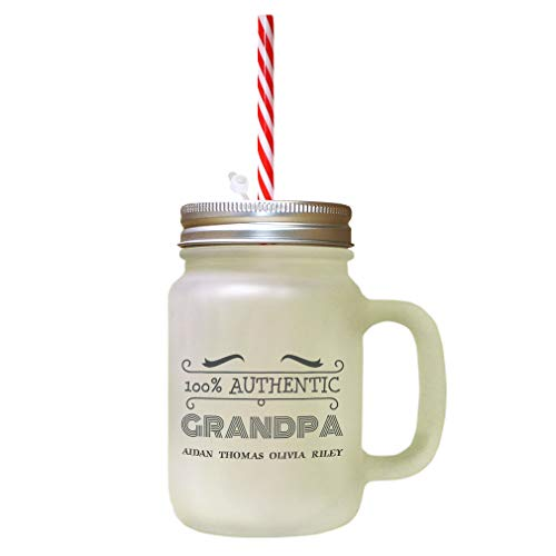 Personalized Custom 100% Authentic Grandpa Frosted Glass Mason Jar With Straw