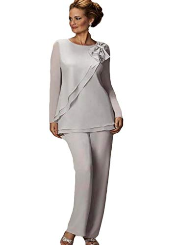 Women's Pants Suit Mother of The Bride Groom Ladies Chiffon Wedding Party Evening Gown Sliver
