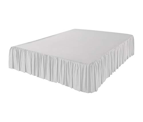 The Great American Store 600 TC 100% Cotton 3 Side Coverage Ruffle/Gathered Bed Skirt 24 Inch Drop Length Full Solid White ()