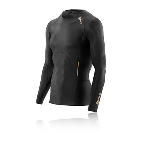 Skins Men's A400 Long Sleeve Compression Top, Black, Small