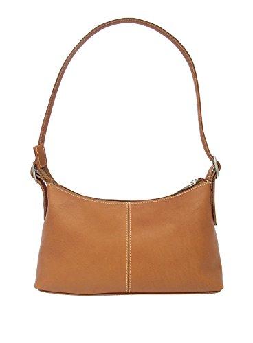 Piel Leather Mini Shoulder Bag in Saddle
