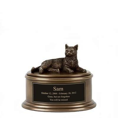 Perfect Memorials Custom Engraved Short Hair Cat Figurine Cremation Urn by Perfect Memorials
