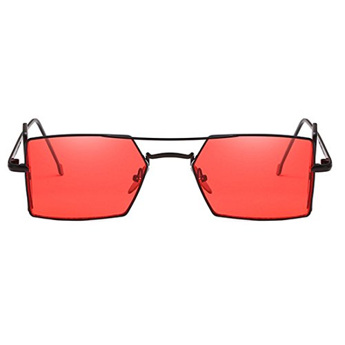 verres Noir rectangle Vintage soleil pour quatre hommes lunettes Aiweijia de d'objectif soleil de Rouge Retro femmes lunettes T4qwO4