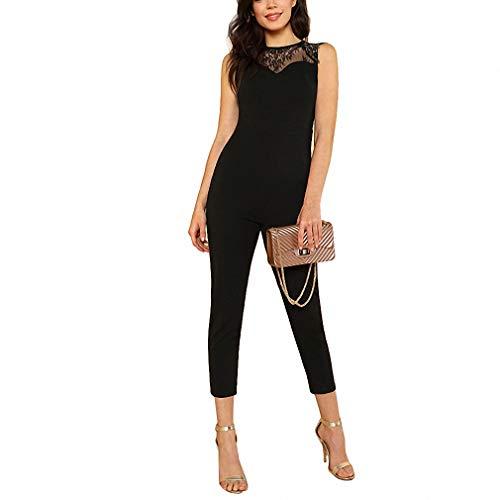 - AkovichFarh Lace Yoke Keyhole Back Skinny Jumpsuit Women Round Neck High Waist Jumpsuit Xs