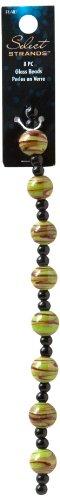 Plaid Select Strands Classic Jewelry Swirl Round Glass Beads, 3415 Green ()