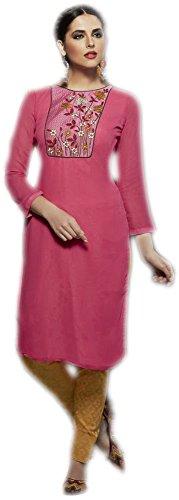 Jayayamala Frauen Rosa Georgette Designer gestickte Tunika-Oberteil , Romantisches Kleid