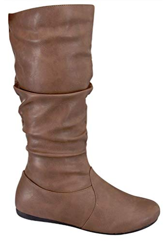 Wells Collection Womens Wonda Boots Soft Slouchy Flat to Low Heel Under Knee High, Tan PU, 8.5