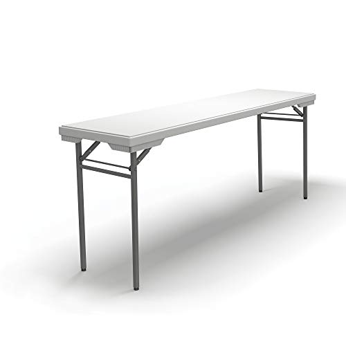 Mayline 721872DGWT Event Series Rectangle Folding Table 72W x 18D, White Top/Dark Gray - Drafting Mayline Table