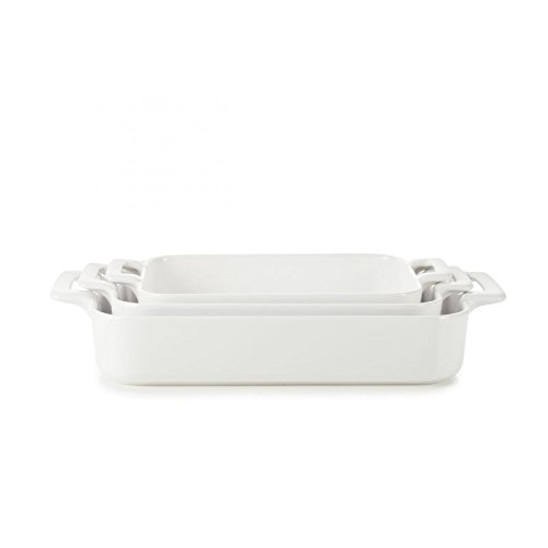 REVOL SET03BC001 Culinary Porcelain Rectangular Baking Dishes, Satin White (Dish Porcelain Rectangular)