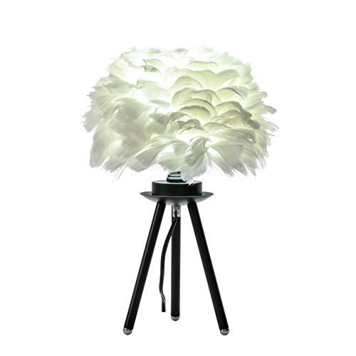 FERWVEW Modern Feather Table Lamp, Black Tripod Bedside Table Lamp, Elegant Deco Desk Light Nightstand Lights for Bedroom Living Room Kids Room Wedding