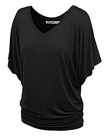 Lock and Love WT1038 Womens V Neck Short Sleeve Dolman Top XS Black