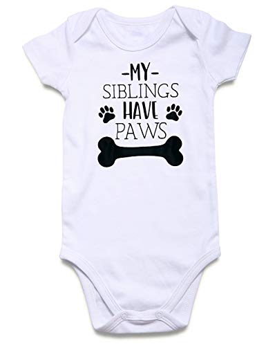 Baby Lap Shoulder Creeper Clothes Lightweight Stretchy One-Piece Bodysuit Monochrome Animal Prints My Siblings Have Paws New Born 3-6M Little Girls Boys Cozy Soft Country Playsuit
