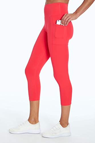 Bally Total Fitness High Rise Pocket Mid-Calf Legging, Sassy Coral, Medium