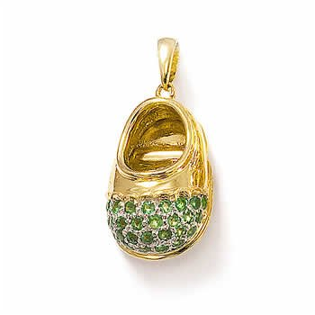 14k Gold Emerald Toe Babyshoe Pendant