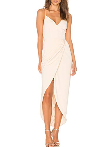 cmz2005 Women's Sexy V Neck Backless Maxi Dress Sleeveless Spaghetti Straps Cocktail Party Dresses 71729 (XS, - Cocktail Nude