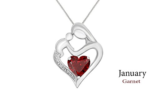 Jewel Zone US Mothers Day Jewelry Gifts Simulated Garnet & White Natural Diamond Accent Mother & Child Heart Pendant in 14k White Gold Over Sterling Silver (11/10 Cttw)